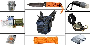 Delta Deals Preparedness Pack Featuring: VISM First Responders Utility Bag - Blue, First Aid Kit, Knife, Light, Outdoor Skills Pocket Reference Guides, Waterproof Note Pad, Emergency Space Poncho, Compass, and 50' of Paracord