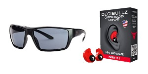 Delta Deals Shooter Safety Packs Featuring Decibullz Custom Molded Earplugs - Red + Magpul Terrain Glasses - Matte Black