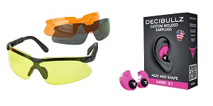 Delta Deals Shooter Safety Packs Featuring Decibullz Custom Molded Earplugs - Pink + Walker's, Glasses, Smoke Gray, Amber, Yellow, and Clear Lens Kit Included, 1 Pair