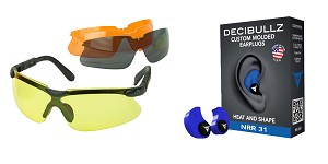 Delta Deals Shooter Safety Packs Featuring Decibullz Custom Molded Earplugs - Blue + Walker's, Glasses, Smoke Gray, Amber, Yellow, and Clear Lens Kit Included, 1 Pair