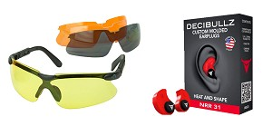 Delta Deals Shooter Safety Packs Featuring Decibullz Custom Molded Earplugs - Red + Walker's, Glasses, Smoke Gray, Amber, Yellow, and Clear Lens Kit Included, 1 Pair