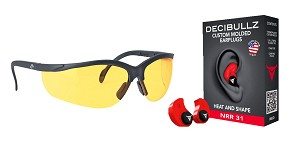 Delta Deals Shooter Safety Packs Featuring Decibullz Custom Molded Earplugs - Red + Walker's, Glasses, Yellow, 1 Pair
