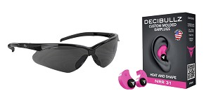 Delta Deals Shooter Safety Packs Featuring Decibullz Custom Molded Earplugs - Pink + Walker's, Crosshair, Shooting Glasses, Polycarbonate Lens, Smoke