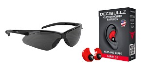 Delta Deals Shooter Safety Packs Featuring Decibullz Custom Molded Earplugs - Red + Walker's, Crosshair, Shooting Glasses, Polycarbonate Lens, Smoke