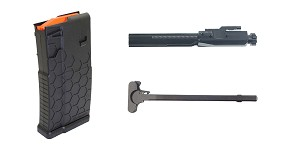 Delta Deals HEXMAG, Magazine, 308 Win/7.62 NATO, 20Rd, Fits DPMS/SR25 - Black Finish + Recoil Technologies Ion Nitride LR-.308/AR-.308 Bolt Carrier Group (.308 Win and 6.5 Creedmoor) + Omega Manufacturing LR-308 Charging Handle Aluminum