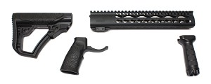 "AR-15 Daniel Defense Black Mil-Spec Collapsible Stock & Grip Set &  USA P1812 12"" Keymod Handguard Combo HOT !!"