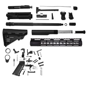 "Davidson Defense DIY AR-15 HBar Deluxe 16"" 5.56 Nato Complete Ar-15  Carbine Kit With BCG (Minus Lower Receiver) Plus Flip Up Sights"
