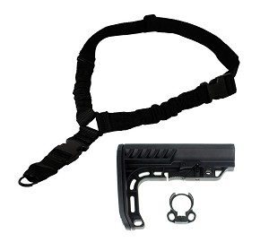 Lakota Ops Special Operations Elite Mil-Spec AR-15  Stock & Premium Heavy Duty Single Point Sling With Ambi Ez Install Sling Mount (No Disassembly Required)