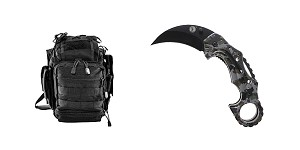 Delta Deals GS Knife Co. Folding Hawkbill Blade Knife + VISM First Responders Utility Bag - Black