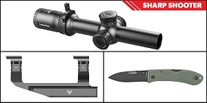 Delta Deals Sharp Shooter Combos: Swampfox Optics Tomahawk LPVO Scope MOA Reticle 1-4x24 + KABAR Hunter Folding Knife 3