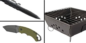 Tactical Gift Box Kershaw, Shuffle II, Folding Knife, 8CR13MOV/Black, Drop Point Blade + Tactical Pen + Portable Folding Barbecue Grill