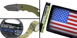 Tactical Gift Box Kershaw, Shuffle II, Folding Knife, 8CR13MOV/Black, Drop Point Blade + SE Cloth Tape Digital Camoflauge + Non-Slip Cleaning Mat