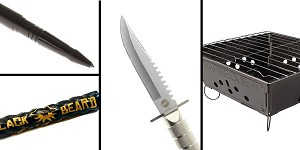 Tactical Gift Box Portable Folding Barbecue Grill + Black Beard Fire Starters + 8.5 in. Stainless Steel Knife With Survival Kit + Tactical Pen