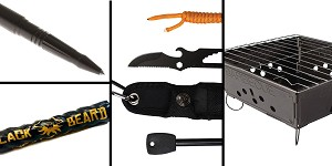 Tactical Gift Box Portable Folding Barbecue Grill + Black Beard Fire Starters + UST Paraknife 2.0 FS + Tactical Pen