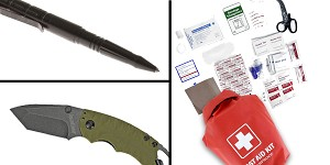 Tactical Gift Box Kershaw, Shuffle II, Folding Knife, 8CR13MOV/Black, Drop Point Blade + 100 Piece First Aid Kit stored in Dry Sack + Tactical Pen w/ Glass Breaker