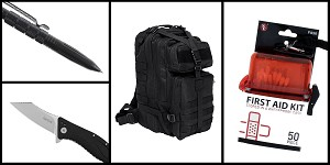 Supply Drop VISM Small Backpack - Black + Kershaw Grinder Folding Knife + Tactical Pen + 50 Piece First Aid Kit in a Waterproof Storage Container