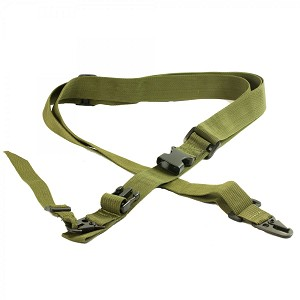 AR-15 Three Point Tactical Combat Sling With HK Clips - OD Green