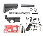 AR-15 Poly 80% Lower Receiver Complete Kit Including Sopmod Stock , Lower Parts Kit For Full Lower